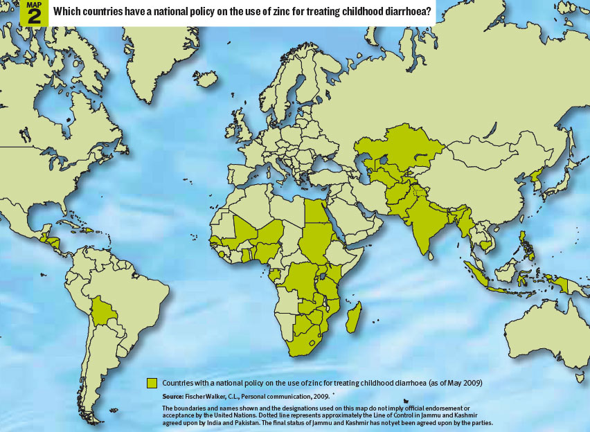 Map 2 - Which countries have a national policy on the use of zinc for treating childhood diarrhoea?